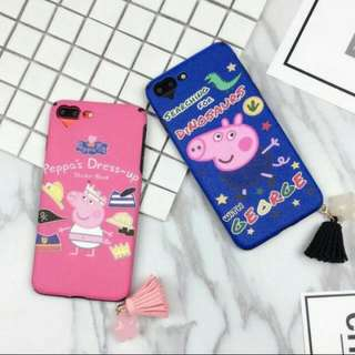 i6 Plus / i6s Plus Blue iPhone Case Peppa Pig Searching for Dinosaurs with George with tassel accessory