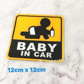 防水反光貼紙 彩色車貼 正方形警告語句 標示告示 BABY IN CAR (包郵)