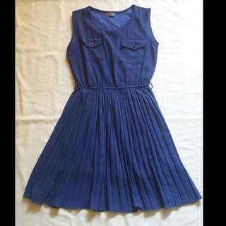 Royal Blue Pleated Dress
