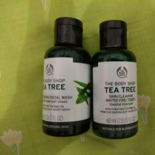 THE BODY SHOP TEA TREE OIL TONER AND FACIAL WASH