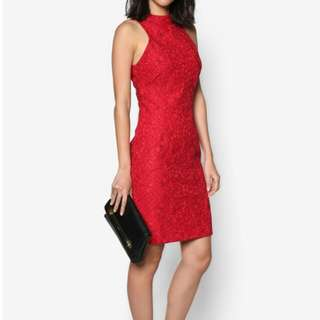 High Collared Red Lace Dress