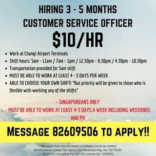 $10/HR CUSTOMER SERVICE AT AIRPORT || 3 MONTHS OR MORE