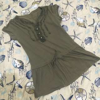Olive Green Long Blouse