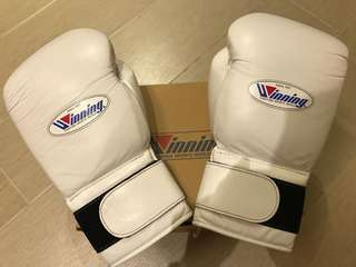 AUTHENTIC WINNING BOXING GLOVES 14OZ WHITE HIGHEST QUALITY