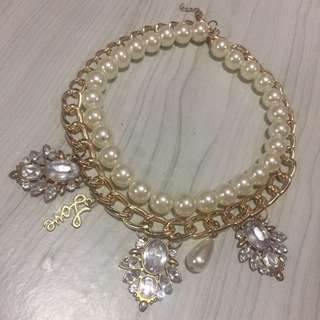 Pearl Collar Short Necklace Gold Chain