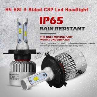 H4 HS1 Seoul CSP Led Headlight Bulb  ★Car Van Motorcycle Scooter     Usage  ★100% Genuine Seoul 1616     CSP Chip      3 Sided x 18 Leds  ★Ultra Bright       ★Mini Size      Plug & Play  ★6.5k White 8000lm 72w     High Low Beam   In Stock