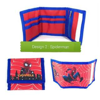 Children/kids wallets with customised names spiderman