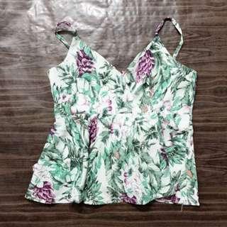 Vintage Thrift tropical flora top