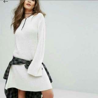 BNWT Boohoo White Knit Sweater Dress