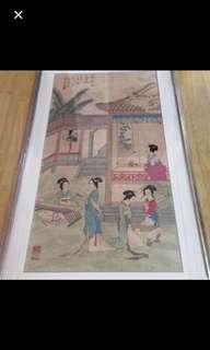 {Collectibles Item - Ancient Ink Painting} 唐代古画Tang Dynasty Chinese Ancient Ink Painting On Paper On Frame -【玉女爭艳圖】 框画長5尺2寸(158cm) 寛3尺(88cm) - 嚴莊(8世纪-8世纪),唐朝节度使安祿山的軍师,深受重用与高尚编造图谶,引导安祿山反版,史称安史之乱。嚴莊总能逢凶化,吉遇难呈祥。后拜为丞相。