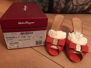 Salvatore Ferragamo orange open toe sandles