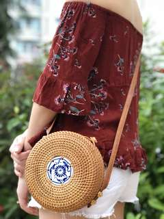 Round rattan porcelain bag