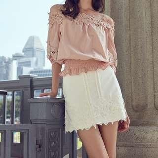 Megagamie White Crochet Panel A-line Skirt