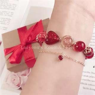 PO Red Glass 2 Piece Lucky Bracelet