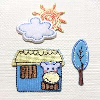 Iron On Patch/ Applique ↪ Cow & Homes 🐄🐄 💱 $3.90 Each Set - 3 Pieces
