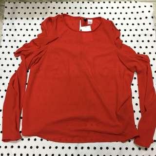 H&M 紅色露膊上衣