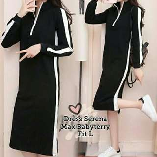 LVLN - DRESS SERENA HITAM 73.000 Bahan babyterry fit to L berat 0.3