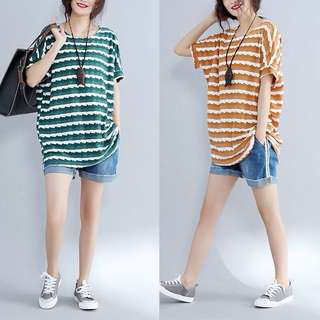 Plus Size Long striped shirt short sleeve t-shirt summer clothing