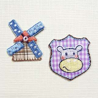 Iron On Patch/ Applique ↪ Cow & Wing Mill 🐄🐄 💱 $3.90 Each Set - 2 Pieces
