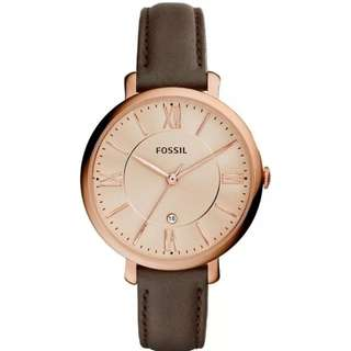Preorder Fossil Jacqueline Gray Leather Watch ES3707