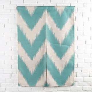 Nordic Blue Geometry Door Curtain