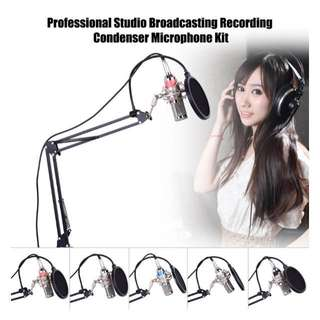 Professional Studio Broadcasting Recording Condenser Microphone Mic Kit Set 3.5mm with Shock Mount Adjustable Suspension Scissor Arm Stand Mounting Clamp Pop Filter - intl