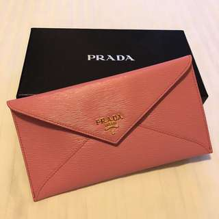 SALE! Prada Envelope Long Wallet in Pink 普拉達粉紅色信封形長銀包