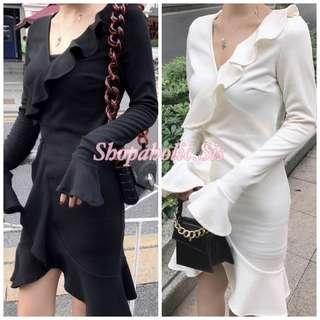 性感氣質V領修身喇叭袖荷葉邊不規則連身純色A字裙短裙 女裝連衣裙