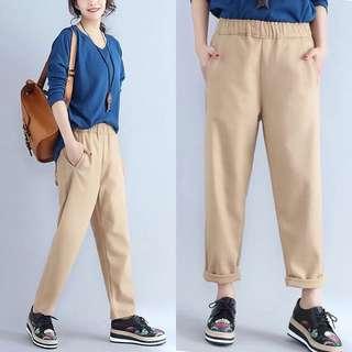 Plus Size 2018 spring pants nine pants camel hair woolen pants loose harem pants women