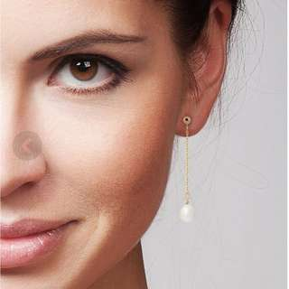 Dangle earrings - yellow gold 1.25g -freshwater pearls - L : 4.5 cm