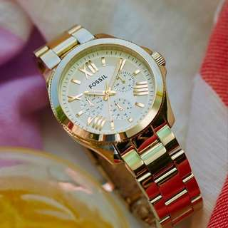 [2 Years Warranty Included] Fossil Watch Women - Gold Chain