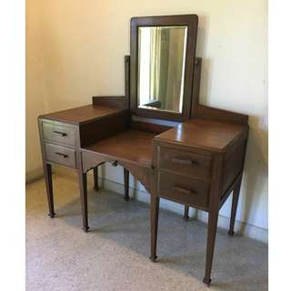 Vintage British Colonial Burmese Teak Wood Vanity Table