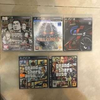 PS3 sleeping dogs, GTA5, GTA4, Gran turismo 5, Killzone 3