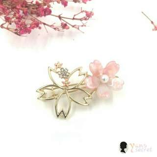 日系 春季 鏤空花系列 貝殼紋櫻花髮夾