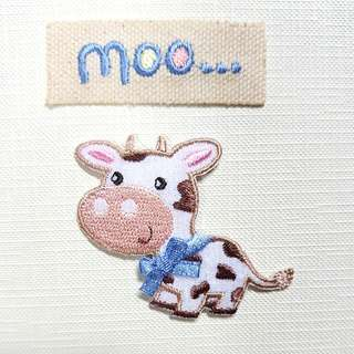 Iron On Patch/ Applique ↪ Brown Patches Cow & Moo... 🐄🐄 💱 $3.90 Each Set - 2 Pieces
