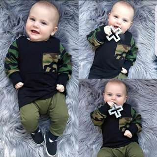 ❤INSTOCK❤ Ash Baby Camo Top and Pants Set