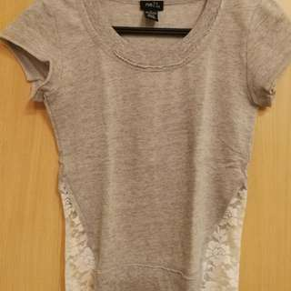 Grey top with lace sides