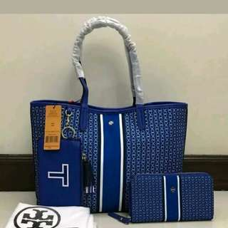 ✔FREE SHIP PROMO SET: Tory Burch Tote Handbag Shoulder Bag and Wallet -Blue