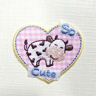 Iron On Patch/ Applique ↪ Cute Cow Pink Badge 🐄🐄 💱 $2.90 Each Piece