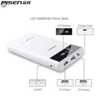 PISEN POWER BANK - 20000mah