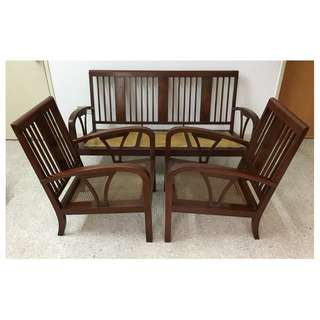 Vintage British Colonial Burmese Teak Wood Settee Set 3+1+1