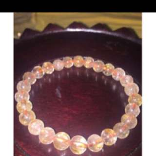 {FS138} 5mm Ladies Gold Rutilated Crystal Bracelet