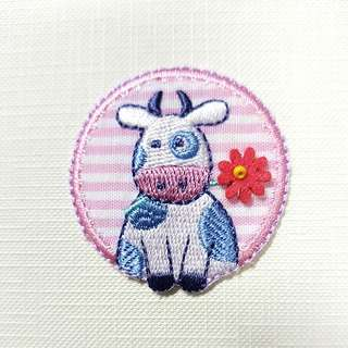 Iron On Patch/ Applique ↪ Cow Pink Patch with beaded flower 🐄🐄 💱 $2.90 Each Piece