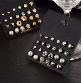 12 Pieces Set Round Ball Stud Earrings Vintage Pearl Earring Set
