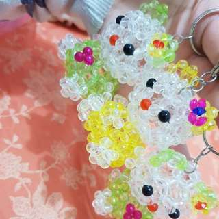 Cute adorable hello kitty beaded keyring charms