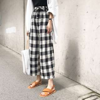 Gingham Stretchable Wide Leg Pants