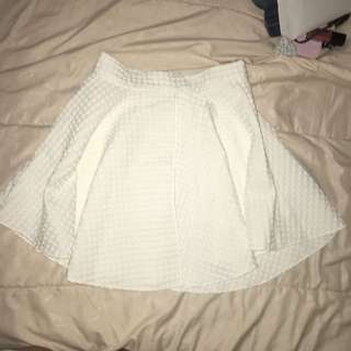 White checkered skater circle a skirt putih