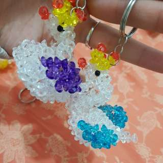 Beautiful queen swan beaded keychain charms