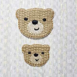 Iron On Patch/ Applique ↪ Bear Head 💱 $3.50 Each Set - 2 Pieces