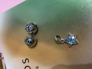 Pandora 星星 定位珠550一對,300一粒,吊咀300